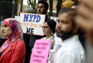 Protesting the NYPD's Demographics Unit. Photo: Seth Wenig/AP