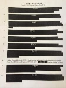 Unclassified titles of OLC memos withheld under Exemption 5.  From Ryan Reilly.