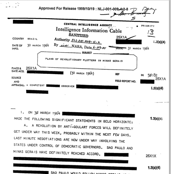 "The March 30, 1964, CIA Intelligence Information Cable, ""Plans of Revolutionary Plotters in in Minas Gerias"" - posted by the National Security Archive."
