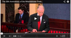 Senator Grassley commemorates the 25th anniversary of the Whistleblower Protection Act.
