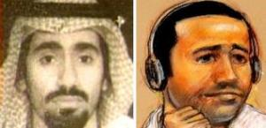 Accused USS Cole bomber Abd al Rahim al Nashiri, a Saudi, shown at left in a photo before his capture by the CIA in 2002 and by sketch artist Janet Hamlin during a 2011 arraignment at Guantanamo.