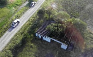 Aerial view of the ranch just outside the town of San Fernando, Tamaulipas, where the bodies of 72 murdered migrants were discovered in August 2010.