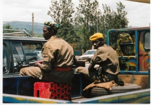Rwandan Patriotic Front (RPF) soldiers in Rwanda, circa September 1994. Photo from personal collection of Prudence Bushnell.