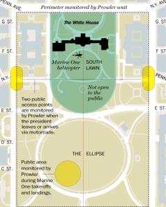 The Prowler units perimeter.  Image:  Carol Leonnig and Peter Wallsten/The Washington Post