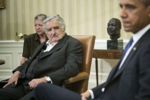 U.S. President Barack Obama and Uruguay President Jose Mujica Cordano speak to the press before a meeting in the Oval Office of the White House May 12, 2014 in Washington. Brendan Smialowski/AFP/Getty Images