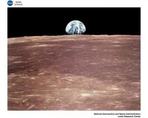 Earth rising behind the moon. (Photo courtesy of NASA, Lewis Research Center)