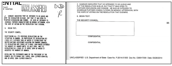 The full 2002 release at right, and the heavily redacted 2014 release on the left.
