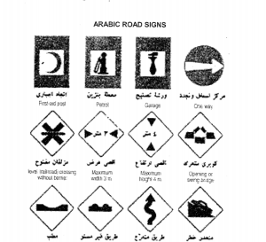 Arabic road signs from Survival Handbook