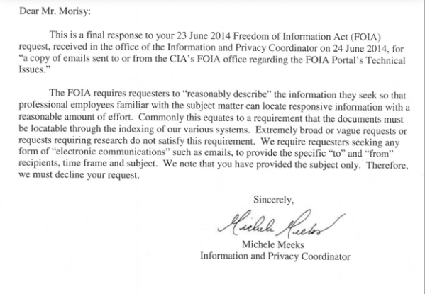 The CIAs response to MuckRocks FOIA request.