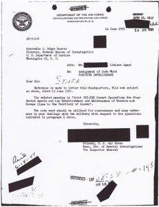 "September 6, 1951, Air Force memo informing FBI Director J Edgar Hoover of project ""Washtub.""  (AP Photo)"
