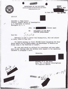"September 6, 1951, Air Force memo informing FBI Director J Edgar Hoover of project ""Washtub.""  (AP Photo)"