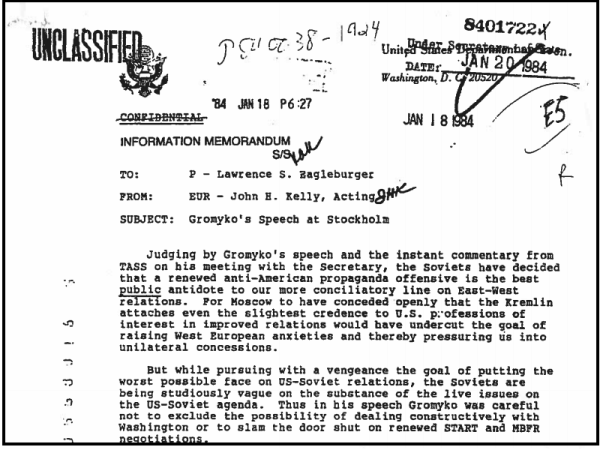 January 18, 1984, memo from Senior Deputy Assistant Secretary of State John H. Kelly to Deputy Secretary of State Lawrence Eagleburger, Box 1.