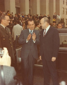 Some of the key players in the Nixon administration debate on the Israeli nuclear program standing outside the Pentagon on 14 June 1969, for Flag Day ceremonies. Shown from left to right are JCS Chairman Earle Wheeler, President Richard Nixon, and Secretary of Defense Melvin Laird. National security adviser Henry Kissinger can be seen further to the right. (Photo source: National Archives, Still Pictures Division, RG 342B, box 1156)
