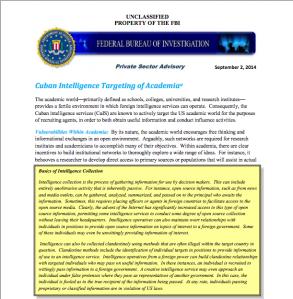 Cuba Intelligence Targeting of Academia