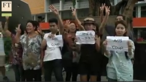 Still from Financial Times footage of Thammasat students protesting the coup and cancellation of commemorative events for the anniversary of the October 6, 1976 student massacre.