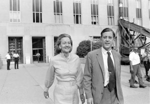 Bradlee and WaPo publisher Katharine Graham leave the U.S. District Court in D.C. on June 21, 1971. The newspaper got the go-ahead to print the Pentagon Papers. AP photo