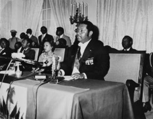 Jean-Claude Duvalier delivers a speech at the Presidential Palace in Por-au-Prince on January 2, 1976. Photo By Afp_AFP_Getty Images