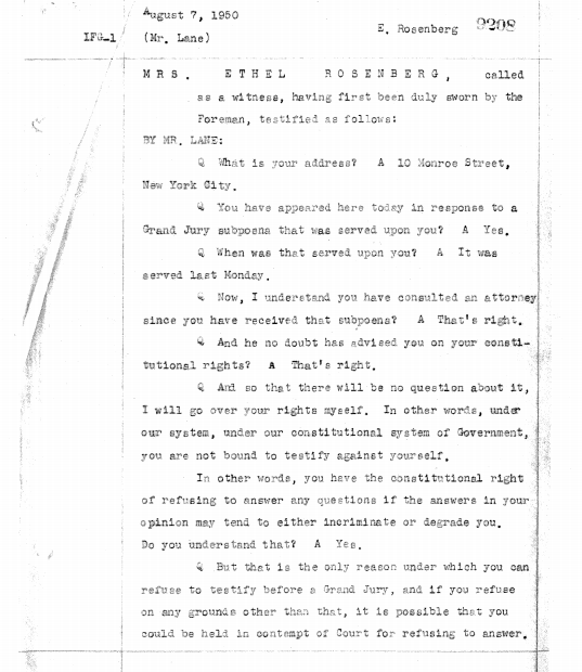 Page from Ethel Rosenbergs August 7, 1950, testimony.