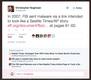 American Civil Liberties Union chief technologist Christopher Soghoian tweets the link to the phony documents.