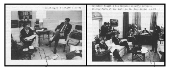 R: Weinberger and Reagan 1-10-83, L: Regan, Reagan, Bush, McFarlane (daily national security briefing) 6-20-85