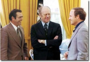 Chief of Staff Donald Rumsfeld, President Gerald Ford and Deputy Chief of Staff Richard Cheney April 28, 1975.