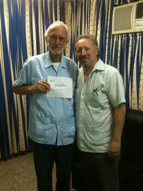 Alan Gross (left) and the Archive's Cuba Project Director Peter Kornbluh at the Havana military prison where Gross was held on November 28, 2012.