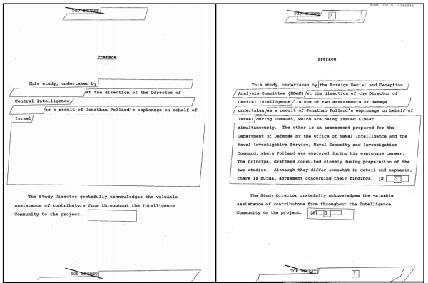 2006 CIA release on the left, ISCAP 2012 release on the right.