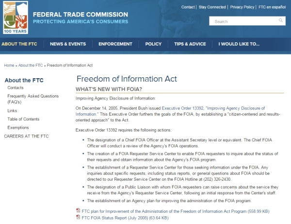 "According to Toby McIntosh at Freedominfo.org one agency encouraging Rockefeller to obstruct the FOIA bill is the Federal Trade Commission.  The ""What's New"" section of the FTC's FOIA page lists a 2005 George W. Bush Executive Order.  Perhaps the FTC is not the best agency to consult on FOIA issues."