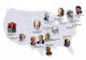 Illustrated map of the 13 Presidential Library administered by the National Archives and Records Administration. Photo: George W. Bush Presidential Library and Museum.
