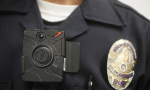 A style of police body camera worn by LA police.  AP Photo/Damian Dovarganes.