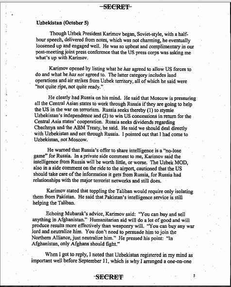 Page 5 from Rumsfelds declassified Secret Memo.