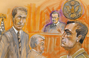 """Fat Leonard"" Francis (R) is shown in this courtroom sketch during his appearance in federal court on November 21, 2013. Phot Credit: Krentz Johhnson/Reuters."