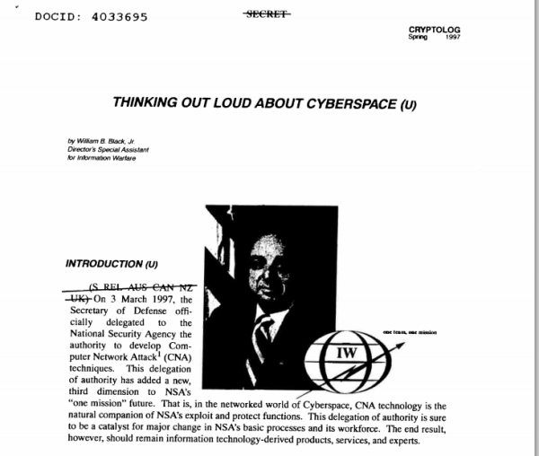 Thinking Out Loud About Cyberspace; an interesting title considering the NSAs secrecy about its cyber surveillance.