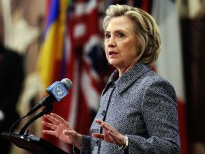 Hillary Clinton takes questions at a press conference. Photo credit: Richard Drew, AP.