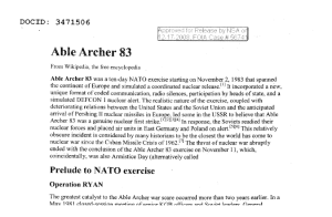 The Wikipedia article on Able Archer 83 the National Security Agency sent us in response to a FOIA request.