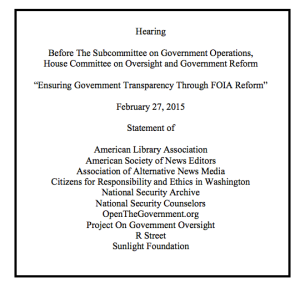 The Archive joined our colleagues in recently proposing a FOIA fix that would have gone a long way in mitigating damage caused by federal agency heads using private email; see page 7.