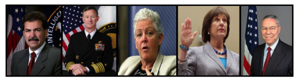 From left to right, Jose Rodriguez, William McRaven, Gina McCarthy, Lois Lerner, and Colin Powell.