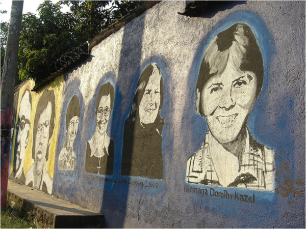 A mural depicting the four American churchwomen killed at the command of General Carlos Eugenio Vides Casanova in 1980.