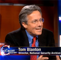 Archive Director Tom Blanton during his first appearance on The Colbert Report in 2010.