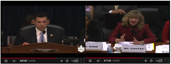 "Chaffetz, left, tells Pustay, right, that she lives in ""la-la-land"" if she thinks FOIA is working."