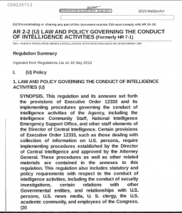 AR 2-2 (U) LAW AND POLICY GOVERNING THE CONDUCT OF INTELLIGENCE ACTIVITIES (Formerly HR 7-1)