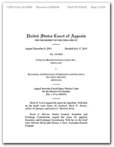 Cover page of US appeals court ruling in Chiquita reverse FOIA case, July 17, 2015.