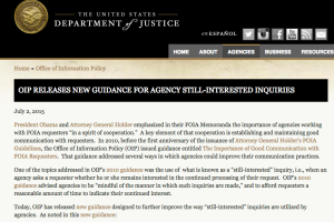 OIP releases new guidance for agency still-interested inquiries.