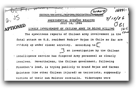 Intelligence report to President Ronald Reagan on the murder of Rodrigo Rojas.