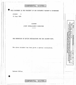 The British Cabinet Office continues to hide all but the first page of this key report on the danger during Able Archer 83.