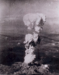 The mushroom cloud billowing up 20,000 feet over Hiroshima on the morning of August 6, 1945 (Photo from U.S. National Archives, RG 77-AEC)