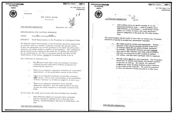 Memorandum from Tony Lake and Roger Morris, NSC Staff, to Captain [Rembrandt] Robinson, Subject: Draft Memorandum to the President on Contingency Study, 29 September 1969, Top Secret/Sensitive.