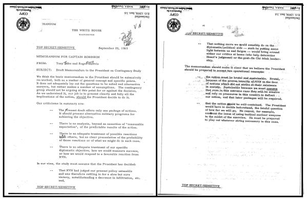 Memorandum from Tony Lake and Roger Morris, NSC Staff, to Captain [Rembrandt] Robinson, Subject: Draft Memorandum to the President on Contingency Study, 29 September 1969, Top Secret/Sensitive.