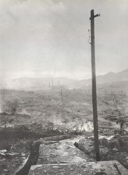 Nagasaki, August 10, 1945; photograph by Yosuke Yamahata; used with permission of copyright holder, Shogo Yamahata/Courtesy: IDG films. Photo restoration by TX Unlimited, San Francisco