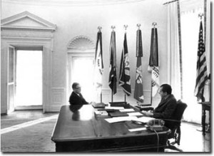 President Nixon meeting with Henry Kissinger in the Oval Office, February 13, 1969 (Copy from Nixon Presidential Materials Project, National Archives)